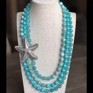 NWT Aqua Blue Beaded Silver Starfish Necklace
